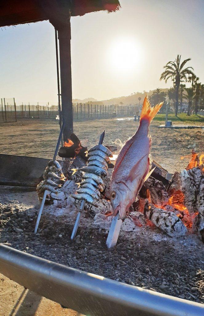 Vis barbecue Pedregalejo Malaga roadtrip Zuid-Spanje