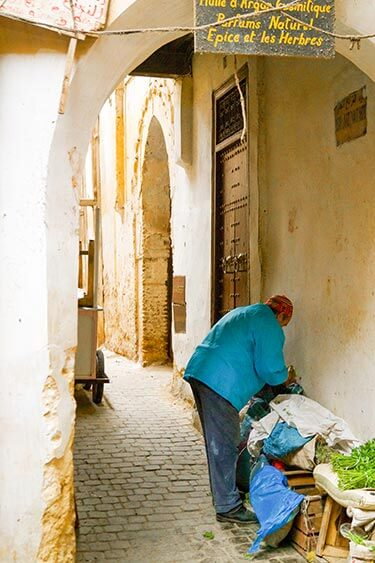 Man met groente in steegje medina Fez