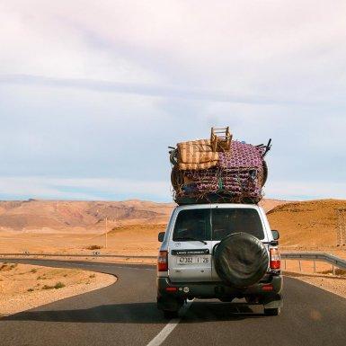 Roadtrip Marokko jeep met bagage